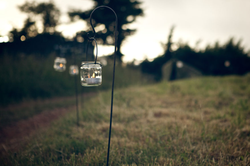 Candle jars at dusk